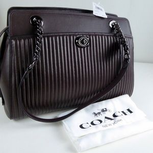 Coach Quilted Parker Carryall Oxblood Leather NWT